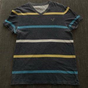 American Eagle Striped V-Neck T-Shirt